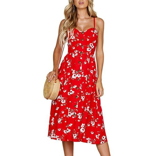 Red Floral Front Buttoned Dress