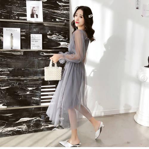 Grey Net Maxi Dress
