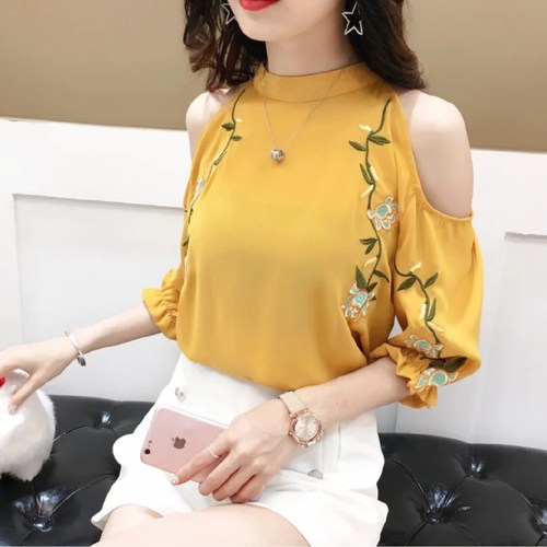 Mustard Off Shoulder Embrodiery Top