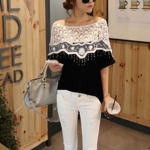 Designer Lace Neck Tee