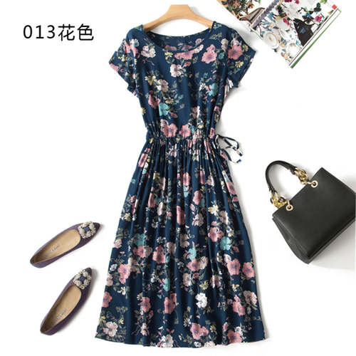 Floral Cotton Silk Dress