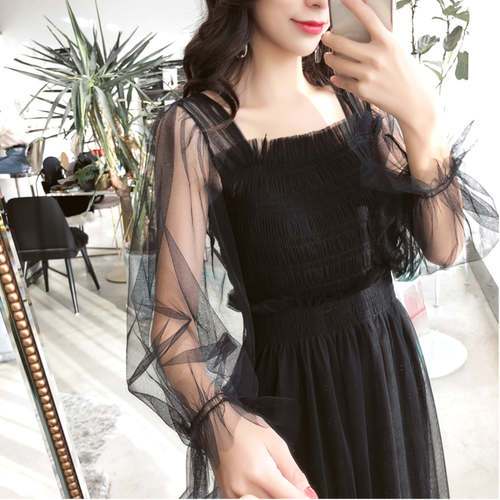 Black Long Net Maxi Dress
