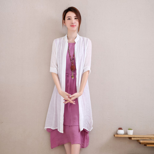 Purple Tunic With White Long Shrug