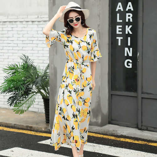Yellow Printed Cotton Silk Dress