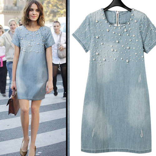 Light Blue Washed Denim Pearl Dress