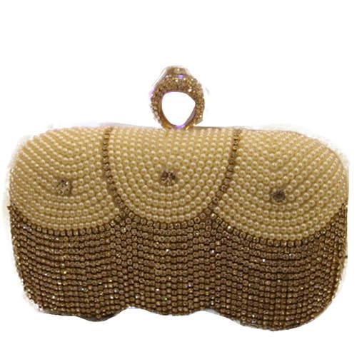 Pearl Embossed Rhinestone Studded Tassel Pattern Clutch Bag