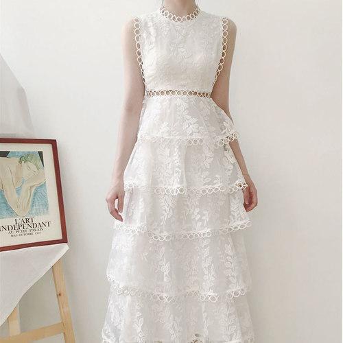 Ruffle Maxi Off White Dress