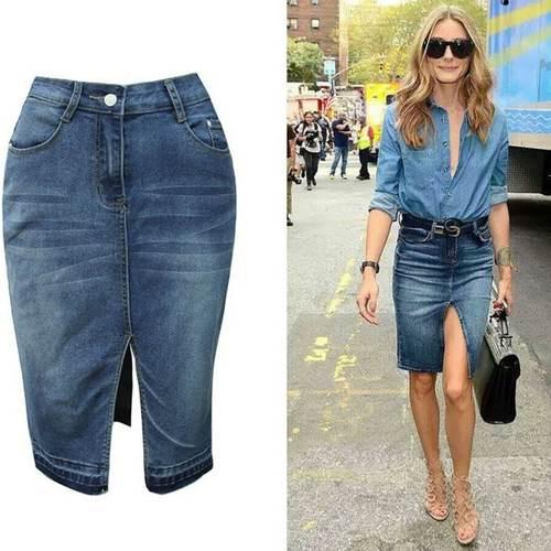 Front Open Denim Short Skirt