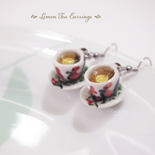 Miniature Food- Lemon Tea Cup Earrings