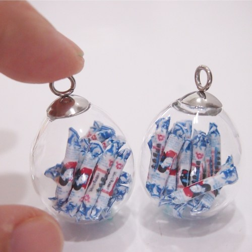 Rabbit Sweets in Glass Globes Earrings.