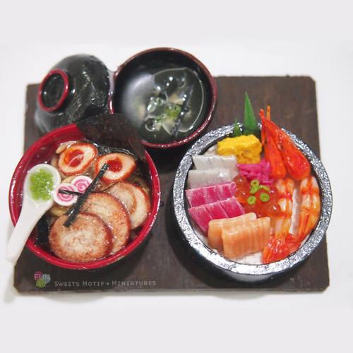 Miniature Food Dollhouse Display Miniature Chirashi Don Set