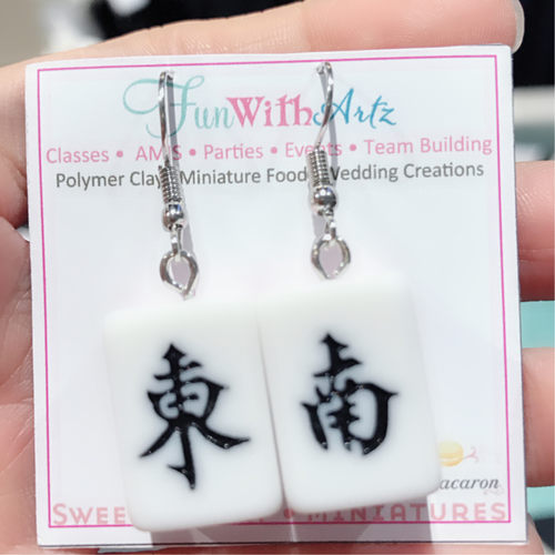 Mahjong Dong Nan Dangle Earrings