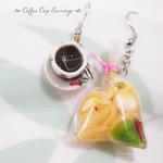 Miniature Food-food jewelry-clay food-Kopi Earrings