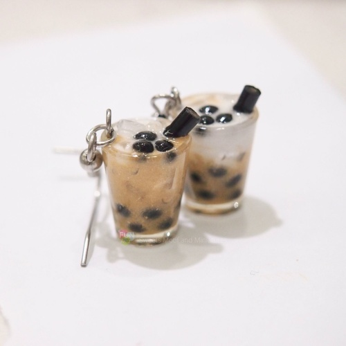 Bubble tea earrings  Boba tea earrings