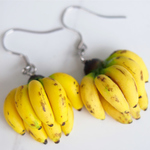Banana Earrings Miniature Food Jewelry Gifts for Her Fruit Earrings Polymer Clay Bananas