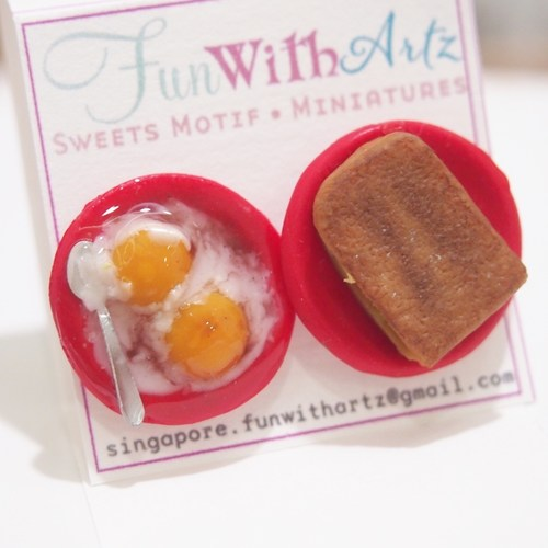 Jewelry - Yakun Toast and Egg Earring studs
