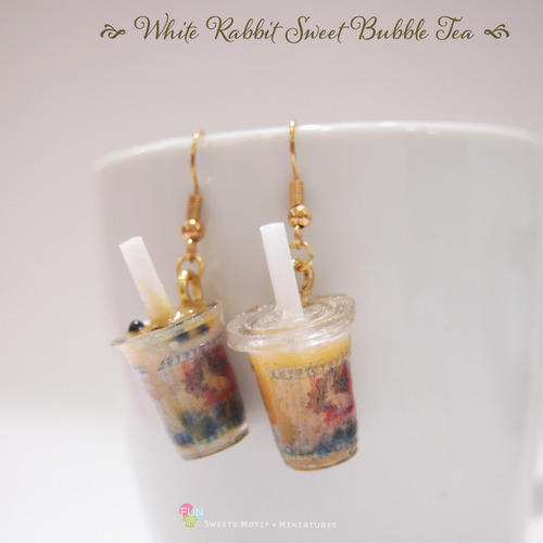 Bubble tea earrings  Boba tea earrings