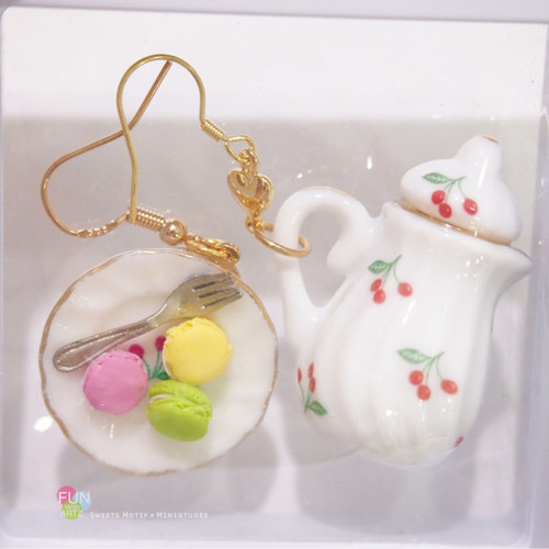 Jewelry - Miniature Macaron with Pot Dangle Earrings