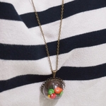 JEWELRY -Tiny Cotton Candy In a globe necklace - filled with Candies - 26 inches long Chain
