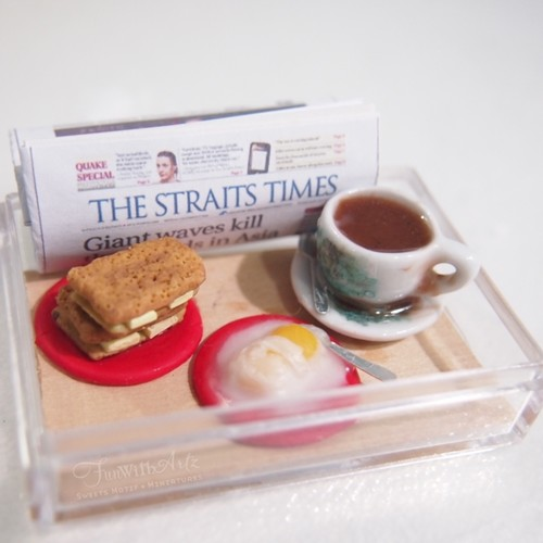Clay Food-Miniature Nanyang Coffee and Kaya Toast Set