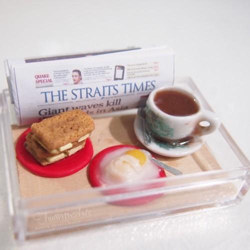 Clay Food-Miniature Nanyang Coffee and Kaya Toast Set