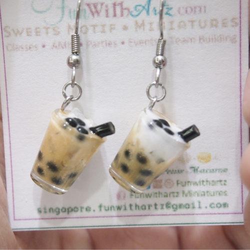 Jewelry-Bubble tea earrings / Boba tea earrings (No cover)