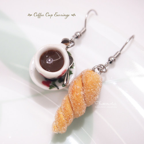 Coffee with Sugar Bread Earrings