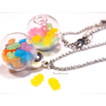Gummy Bears in Glass Globe Necklaces