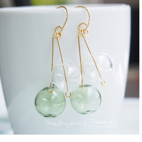 Green Glass Balls Earrings