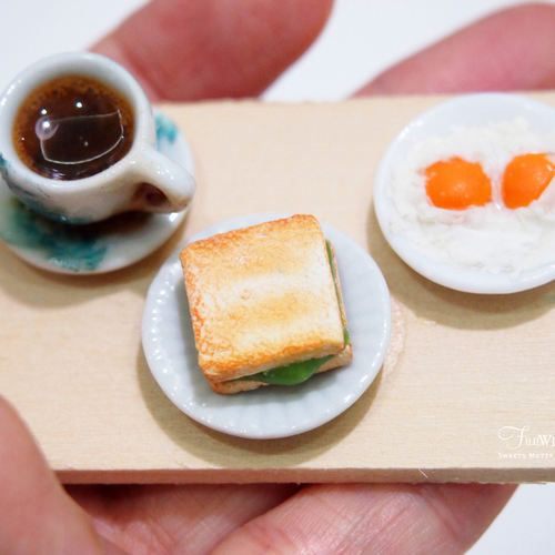 Miniature Nanyang Coffee and Kaya Toast Set