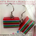 Rainbow Cake-Kueh Lapis Dangle Earrings