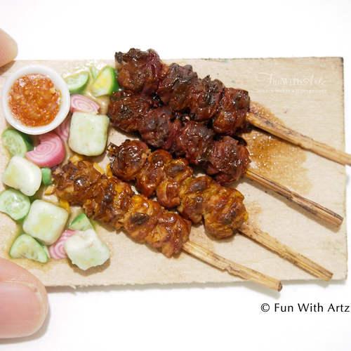 Mniature Food-Satay on Wooden Board