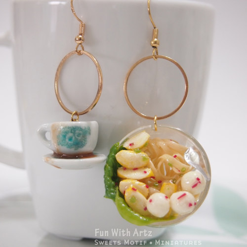 clay Jewelry-clay food-Fishball Noodle Earrings