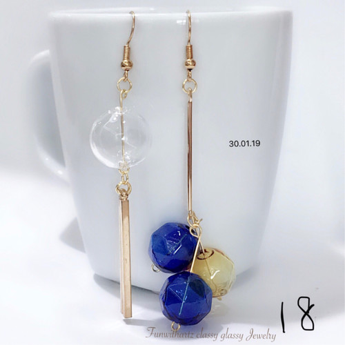 Blue Styled Glass Earrings