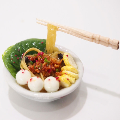 Workshop Miniature Fishball Noodle Set with Meat and elevated Wooden Chopsticks