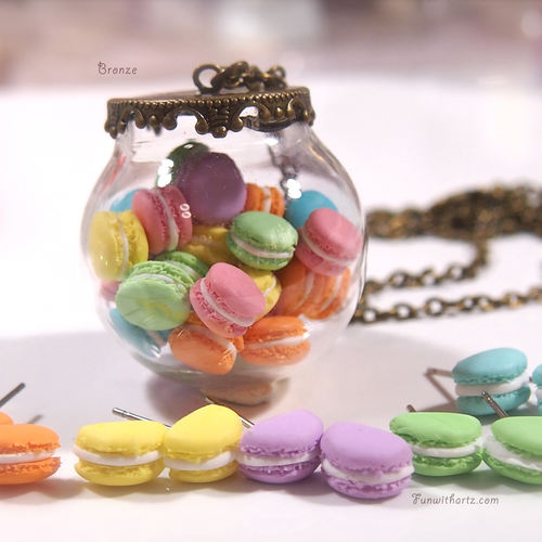 Polymer Clay Tiny Macarons in Glass Globe Necklace