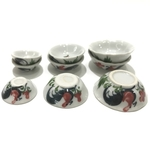 Dollhouse Ceramic Rooster Bowls
