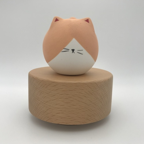 Big Tail Porcelain Cat Music Box Big Moon