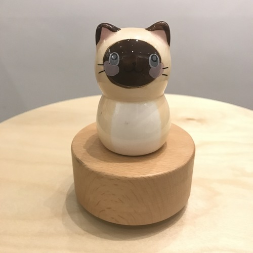 Porcelain Cat Music Box Wooden Base