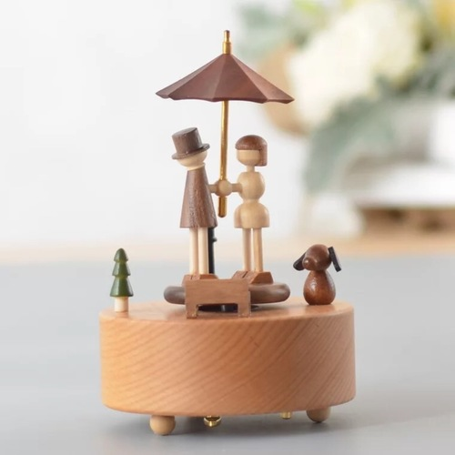 Wooden Umbrella Couple Music Box