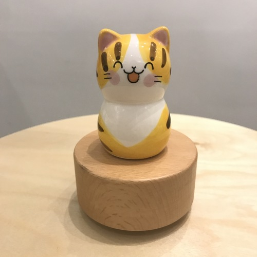 Porcelain Yellow Cat Music Box Wooden Base