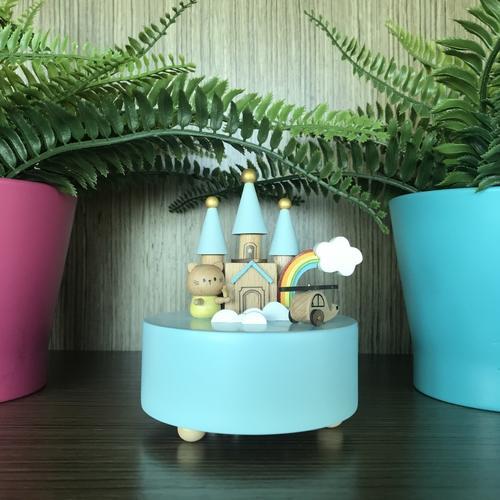 Rainbow Castle blue base Music box