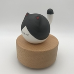 Big Tail Porcelain Cat Music Box Big Black