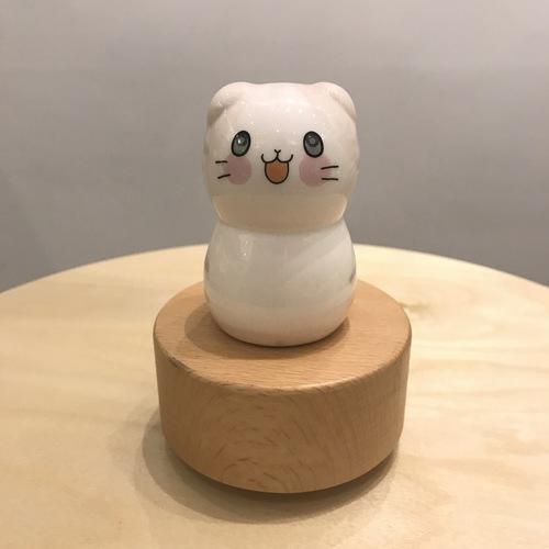 Porcelain Light Pink Cat Music Box Wooden Base