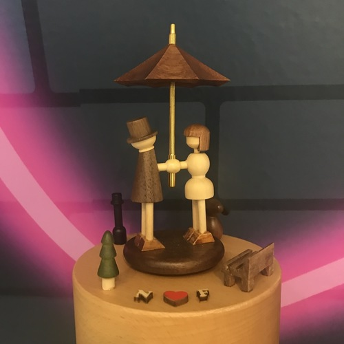 Wooden Umbrella Couple Music Box