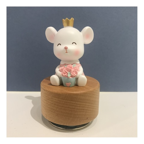 Rose and Crown Rat Music Box Wooden base