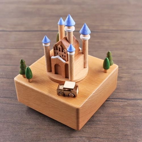 Blue 5 Towers Castle Music Box