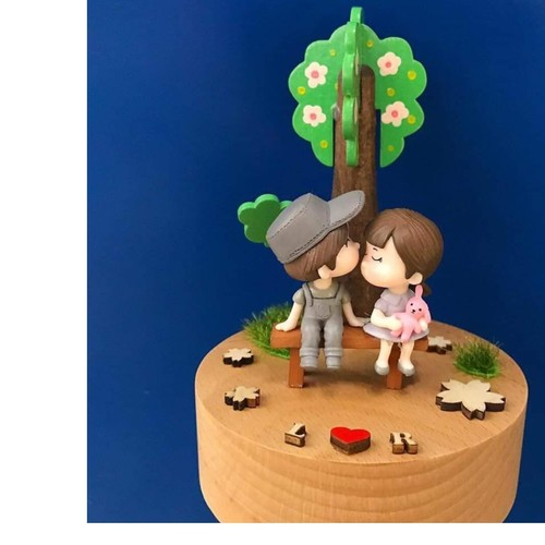Wooden Sakura Tree Couple Music Box