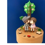 Wooden Sakura Tree Couple Music Box