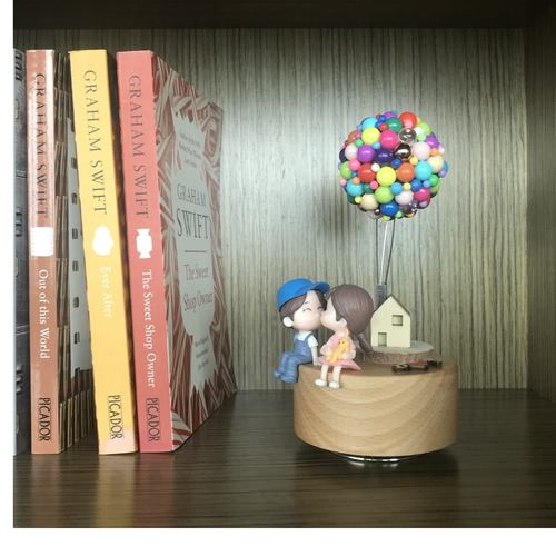 Couple with Mixed Color Balloon House Music Box